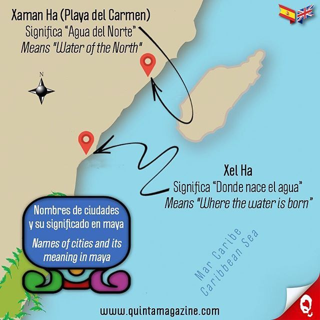 Nombres de las ciudades en la Riviera Maya y su significado en lengua maya [Playa del Carmen y Xel Ha] 🌞 Names of the cities in the Riviera Maya and its meaning in maya language [Playa del Carmen and Xel Ha] ☀💦🌴👙🐠🇲🇽 #infografía #infographic #ciudades #cities #nombres #names #maya #language #paraíso #paradise #caribe #caribbean #cultura #culture #informacion #information #interesante #interesting #mapa #map #quintamagazine #playadelcarmen #rivieramaya #mexico
