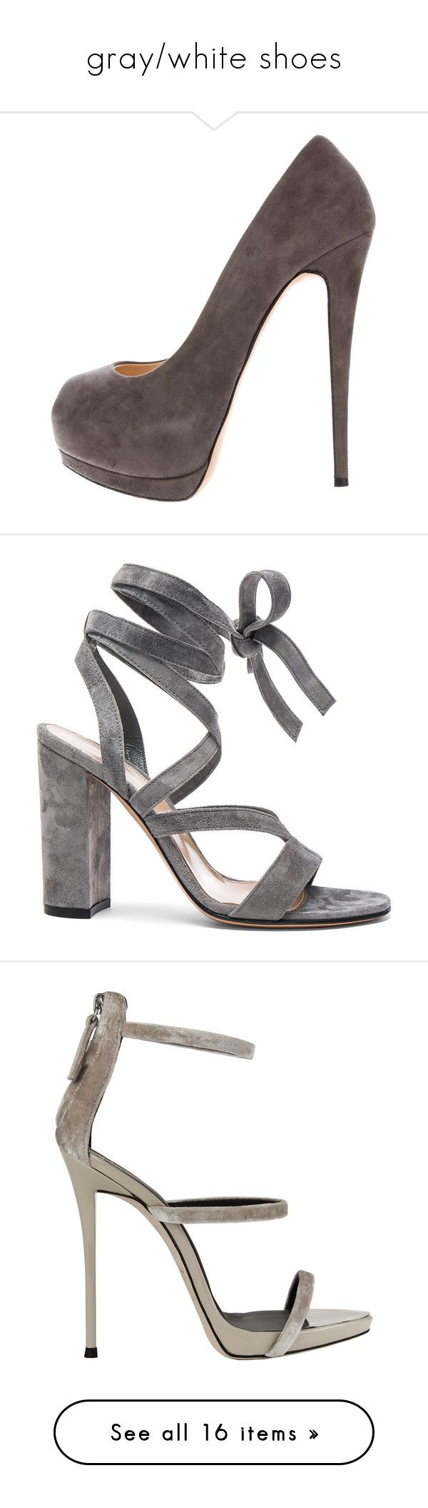 """""""gray/white shoes"""" by mrstomlinson974 on Polyvore featuring shoes, pumps, grey, grey pumps, grey shoes, platform shoes, peep-toe pumps, suede pumps, sandals and heels"""