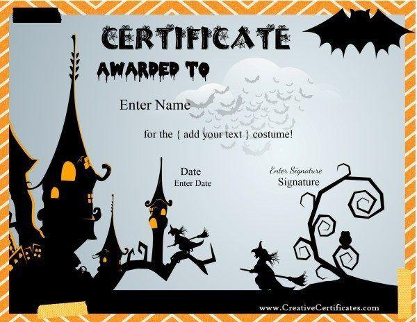 Halloween costume award certificates
