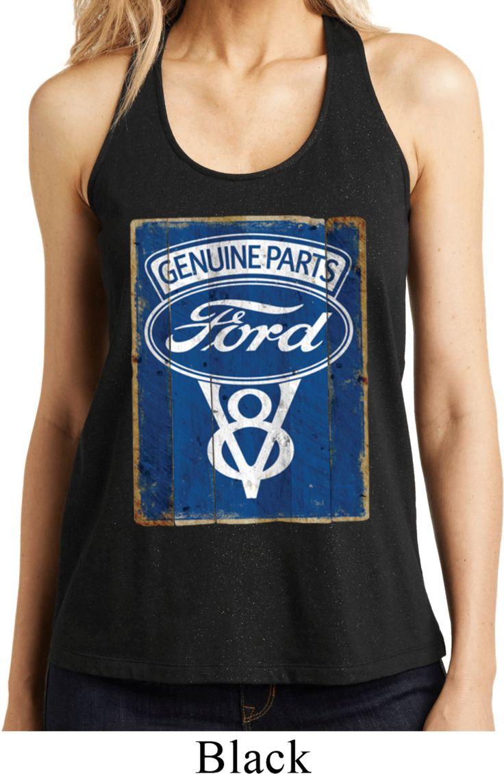 Ladies Ford Tanktop V8 Genuine Ford Parts Shimmer Loop Back Tank Top - V8 Genuine Ford Parts Ladies Shirts