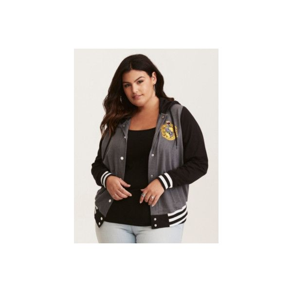 6b3c3bef6801e Torrid Harry Potter Hufflepuff Hooded Varsity Jacket ( 49) ❤ liked on Polyvore  featuring outerwear