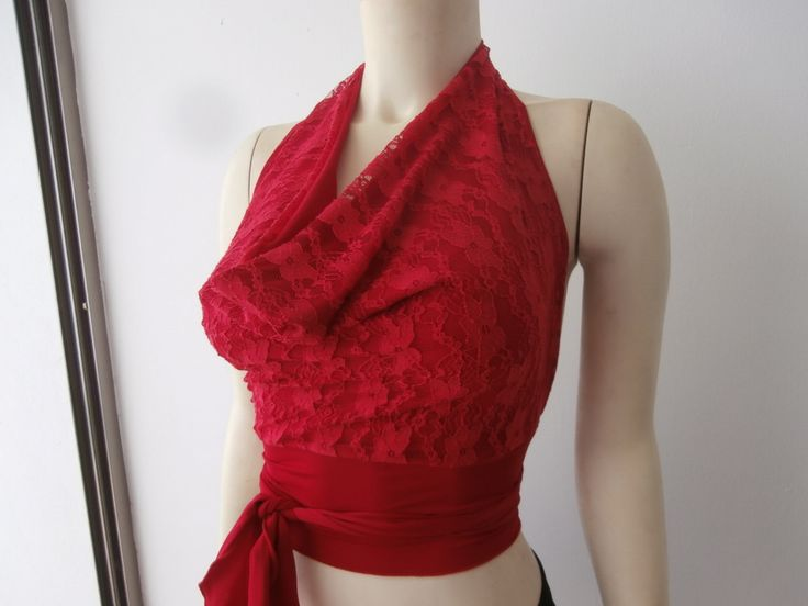 Lace Top in red Tango Halter Cowl Neck Top fits  US 2 to 6  Dancewear Milonga Evening Top by COCOsDANCEWEAR on Etsy