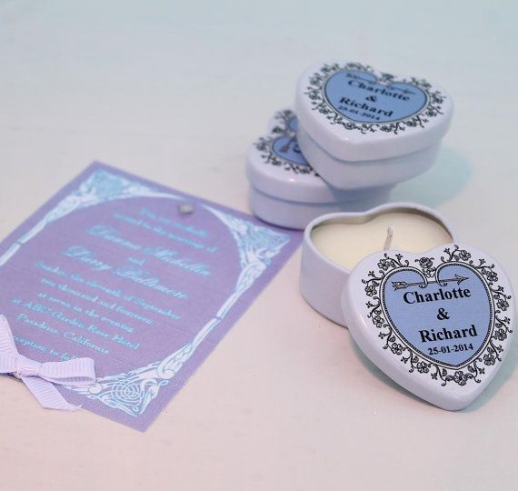 Wedding Favours  Lilac Personalised heart by HearthandHeritage