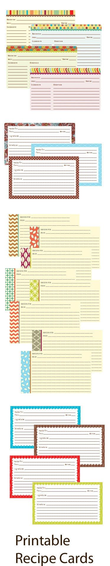 Free Printable Recipe Cards - Four Sets to Choose From