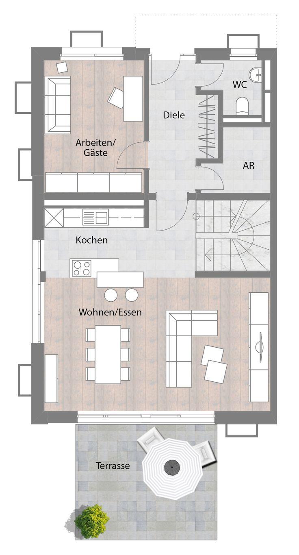 Doppelhaushälfte - Typ A - Erdgeschoss mit Terrasse 74,85 m²