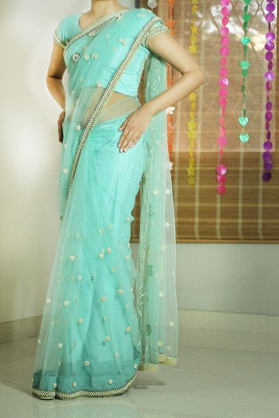 Sea Blue Net Saree With Pearls