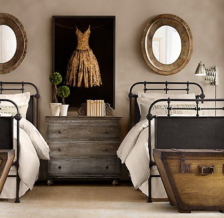 Love this simple bedroom look - iron bed frames, distressed dresser.