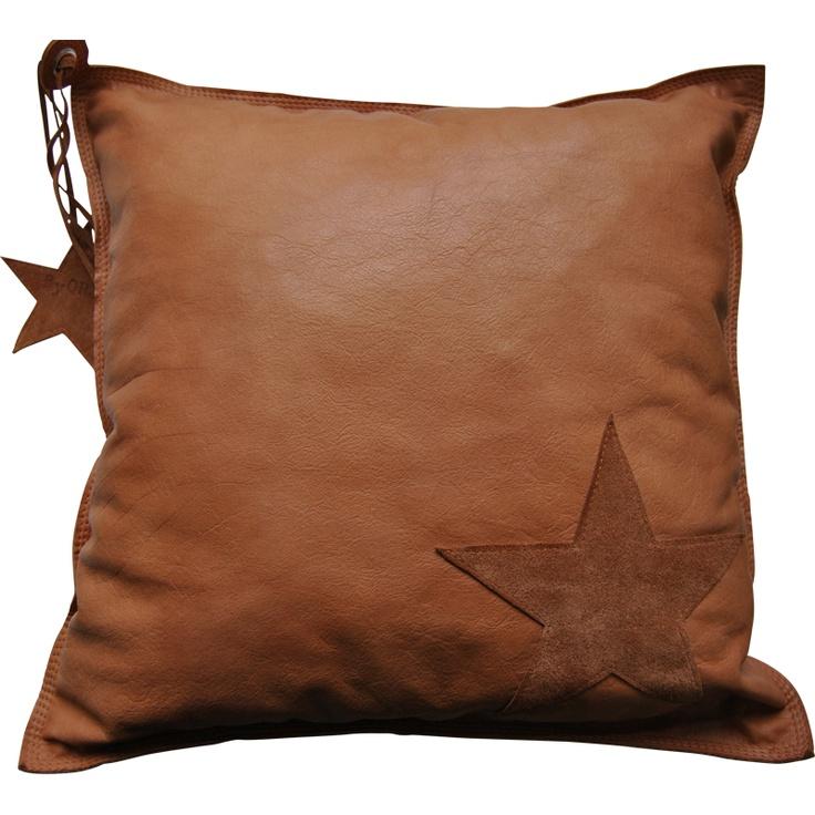leather cushion designed by ByQRJ. Leren kussen 50x50 leren ster , designed by ByQRJ
