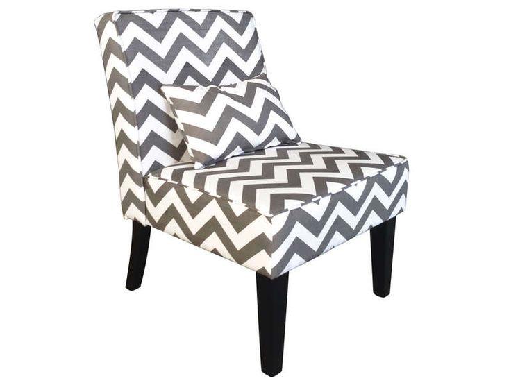 Fauteuil CAMERON motif chevrons gris avec un coussin assorti - Vente de Pouf - Conforama