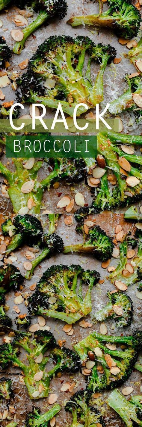 CRACK broccoli Roasted broccoli with toasted almonds, lemon, red pepper flakes, and pecorino. This roasted broccoli side dish is absolutely addictive.