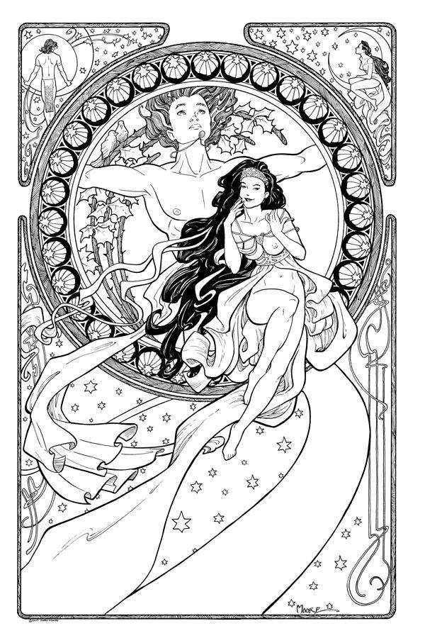 Terry Moore Art Nouveau Commission Comic Art Nouveau Color Pages