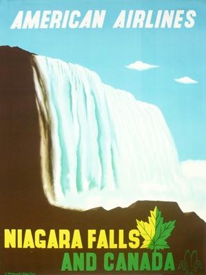 American Airlines - Niagara Falls & Canada, (c. 1948) by Edward McKnight Kauffer