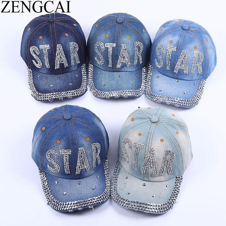 >> Click to Buy << ZENGCAI 2017 Summer Rhinestones Baseball Cap Letters Hats For Men Women Fashion Casual Unisex Denim Caps Outdoors Cap For Cowboy #Affiliate