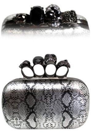 $52.99 ONLY 1 LEFT! Amazon.com: METALLIC Designer & Celebrity Style Silver Snakeskin BLING SPARKLE Clutch w/ Crystal Knuckle BLING Hard Case Clutch Evening bag w/Crystal & Embellished Knuckle Clasp closure by Jersey Bling: Clothing