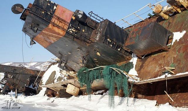 Amazing sunken ship graveyard near the city of Petropavlovsk-Kamchatsky, Kamchatka region, Russia