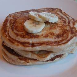 Excellent egg free pancakes, the bananas and buttermilk give body, moisture and taste. Easy to make and they disappear quickly!