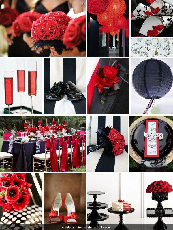 Black as the dominant colour with red and white
