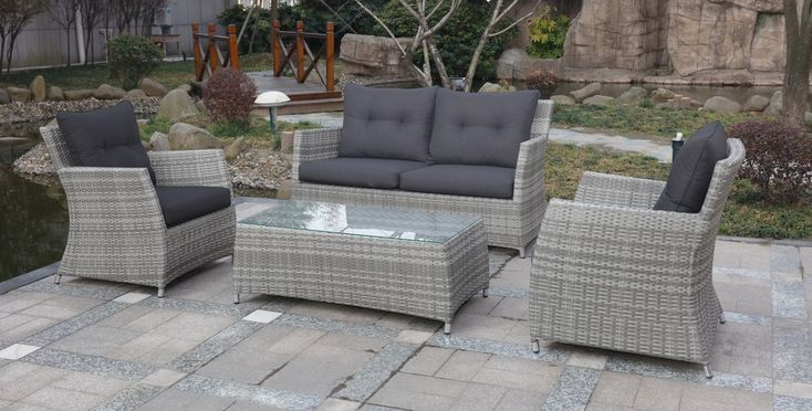 Miami 4-Piece Outdoor Lounge Setting Double String Grey