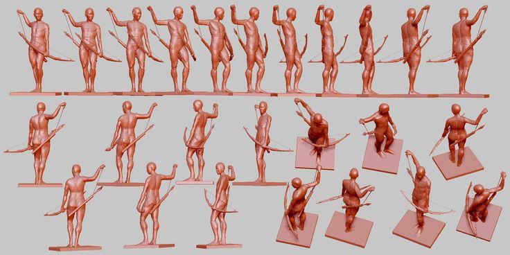 腰の矢に手を伸ばす (ポーズ 342) - 髪と形