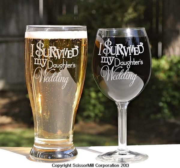 """Thank your Mom & Dad with our Parents Wedding Gift """" I Survived My Daughters Wedding """" set. You know they deserve it. Ease the emotions a little as they giv"""