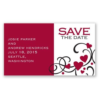 Playful Hearts Magnet - Begonia - Save the Date
