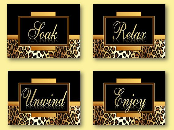 Leopard Cheetah Bathroom Prints Soak Relax Unwind Enjoy. 17 Best ideas about Cheetah Print Bathroom on Pinterest   Leopard