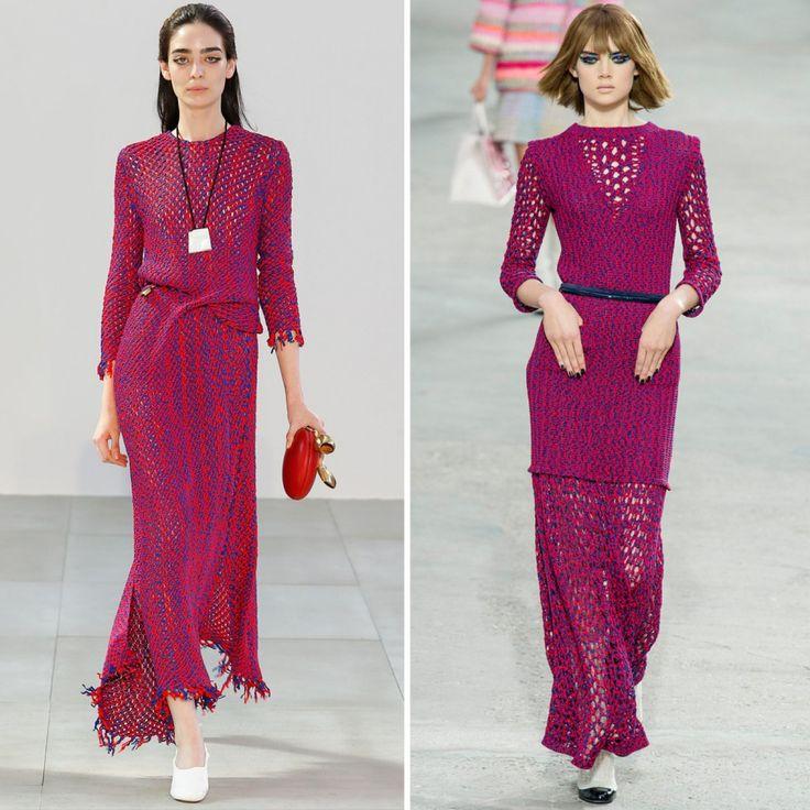 Впрочем, не только Рустан вдохновляется коллекциями Chanel. Фиби Фило в рамках показа Celine сезона весна-лето 2015 неожиданно представила платье, очень похожее на модель от Chanel годичной давности
