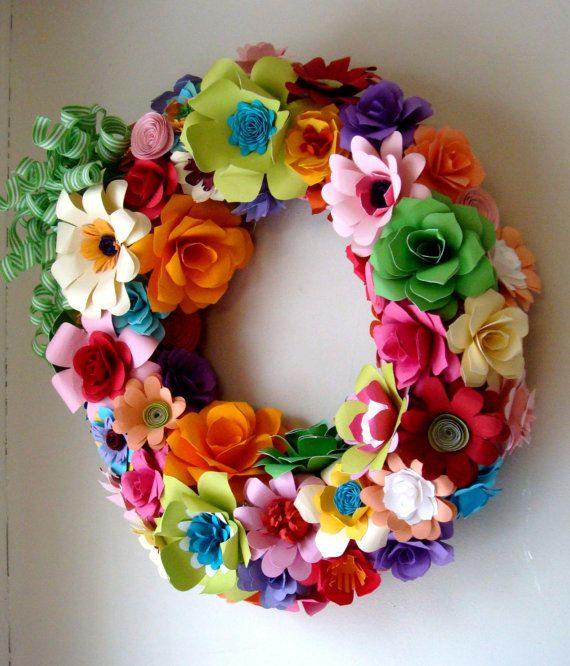 Spring Summer Wreath Welcome Wreath READY by SweetPeaPaperFlowers, $100.00