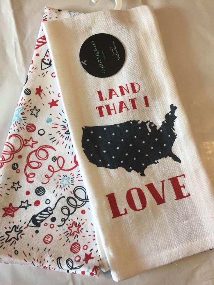 Good Cynthia Rowley Kitchen DishTowels Set Of 2 USA Stars 100% Cotton Red White  Blue #