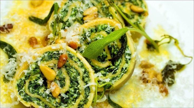 Pastarull med ricotta og spinat