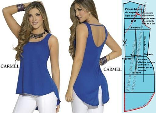 Blusa manga sisa revocada, cola de pato con abertura y escote V semicurvo sobre el corte en el centro y su patrón