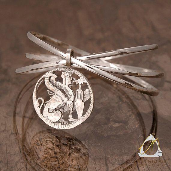 Ancient Greek silver coin charm sphinx coin labyrinth coin