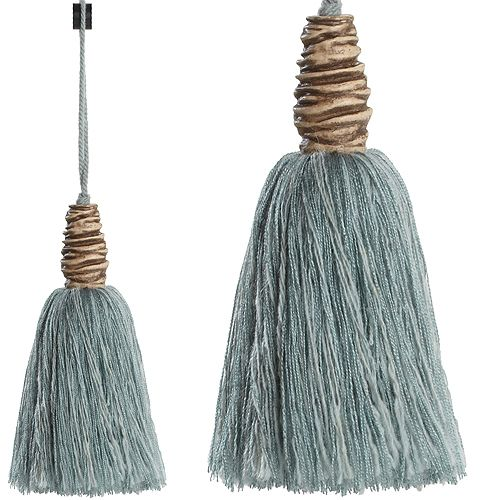 Regency Tempo Wool Rope Key Tassel in Duckegg Blue & Beige. Part of a stunning collection of co-ordinating tiebacks, tassels, chair ties, cord and trimmings ...