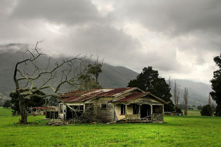Old house, Takaka valley, Golden Bay, New Zealand. Pit-sawn green totara house of Joshua Newport and (Elizabeth) Ellen Polglase.