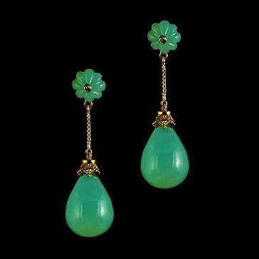 Peruvian Opal Drop Earrings with Peruvian Opal Rondelles with Diamond Flame Motif