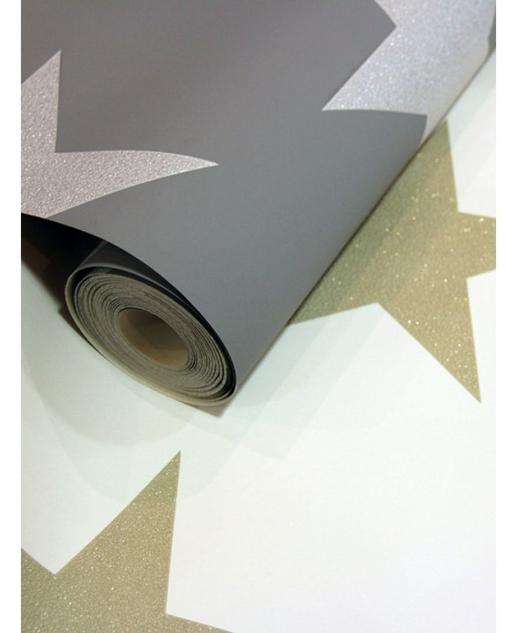 A fun Star patterned wallpaper Features glitter and metallic highlights Ideal for feature walls or entire rooms