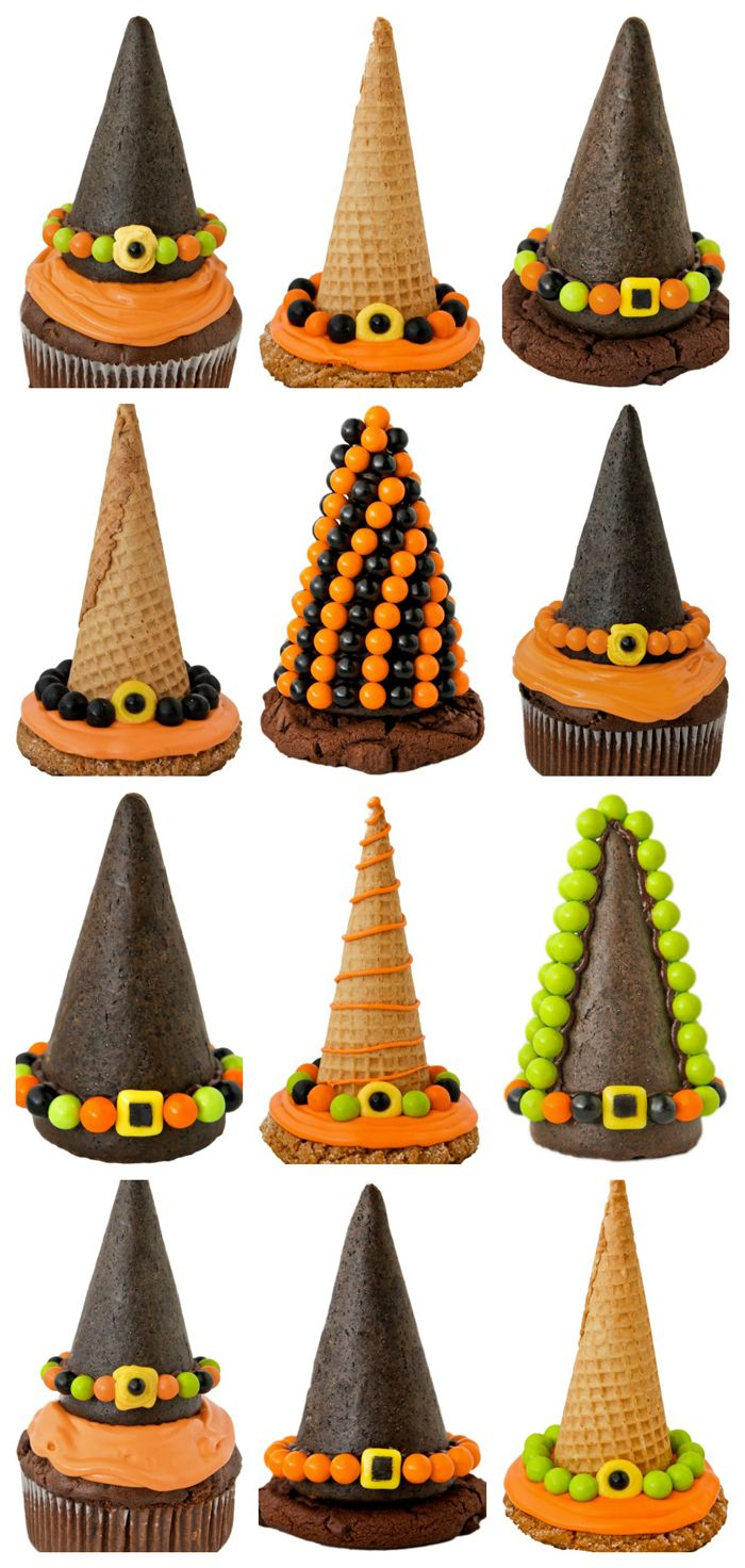 So clever! Halloween witch hats with ice cream cones!