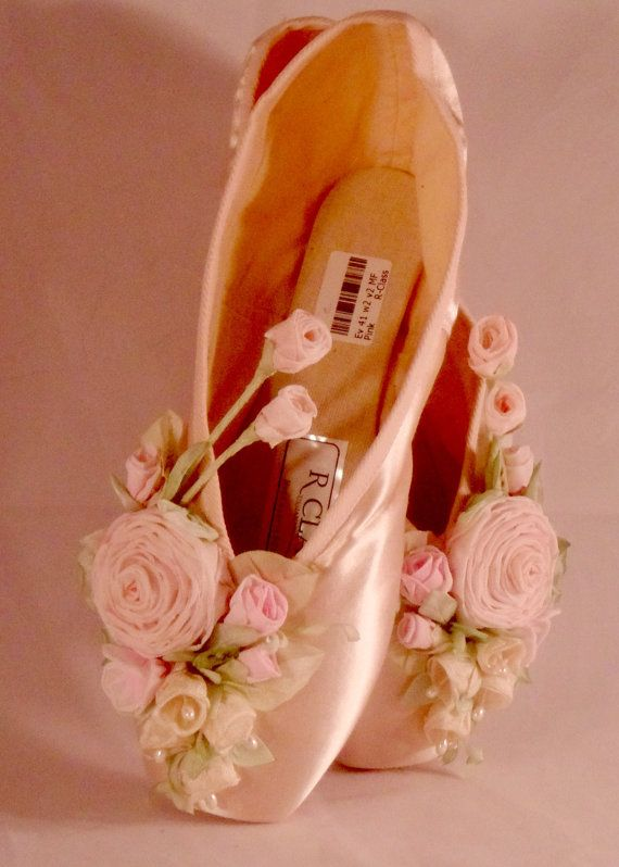 Rose Covered Ballet Pointe Shoe Ballet by lambsandivydesigns