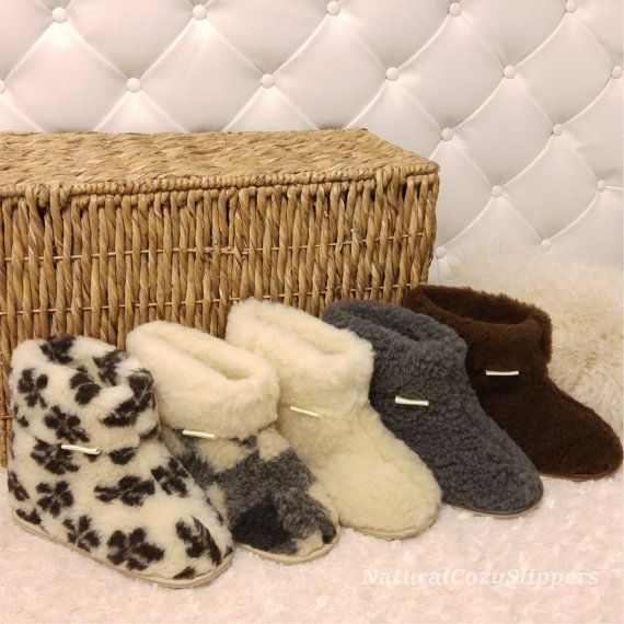 New soft and cosy boot-style sheep 100% pure wool slippers with hard durable rubber sole Super snugly boot-style slippers with durable sole available in 5 patterns: 1. Plain Natural Cream wool colour 2. Grey 3. Flowers pattern 4. Brown 5. Grid Handmade from a double layer