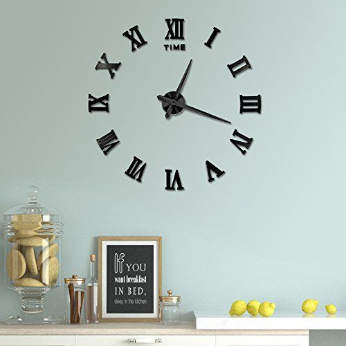 Vangold Large 3d Diy Wall Clock Roman Numerals Clock Frameless