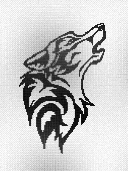 cross stitch wolves   easy_stitch_wolf_silhouette_cross_stitch_pattern_email_delivery_w115 ...