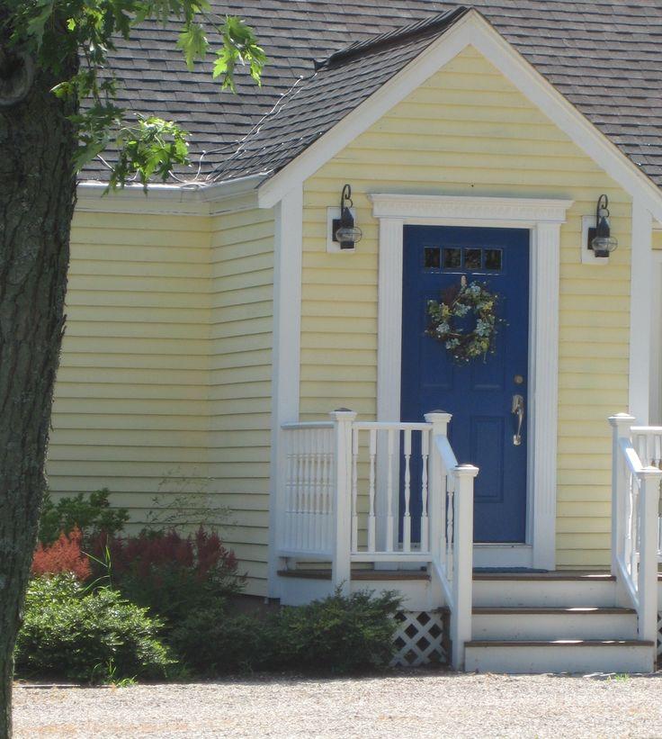 Yellow house, blue door