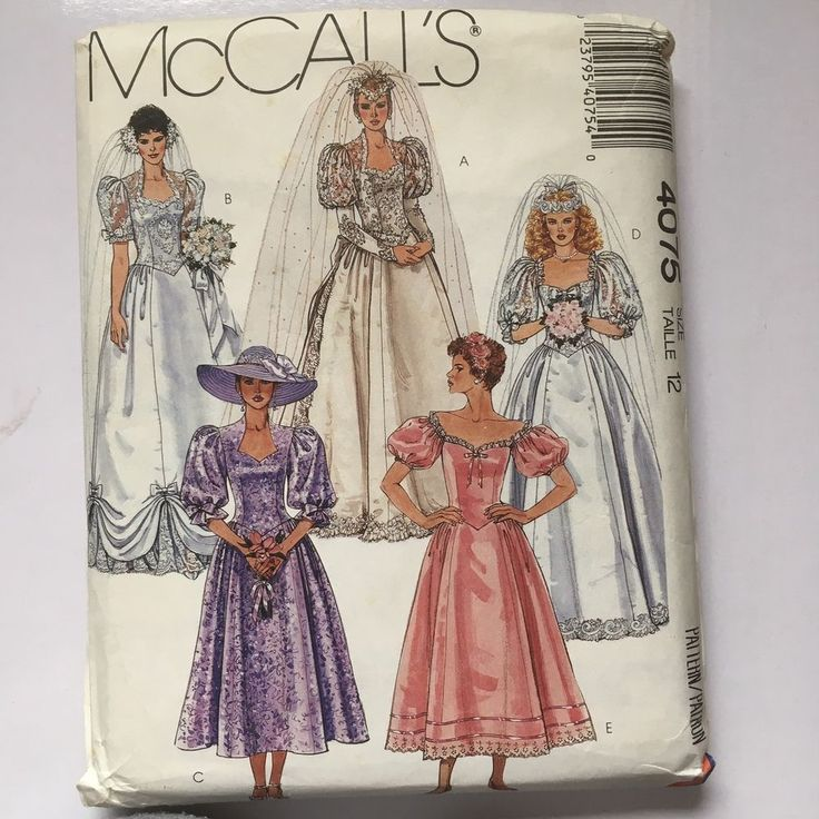 McCall's Bridal Wedding Gown Bridesmaid Dress Misses' Sz 12 Sewing Pattern 4075