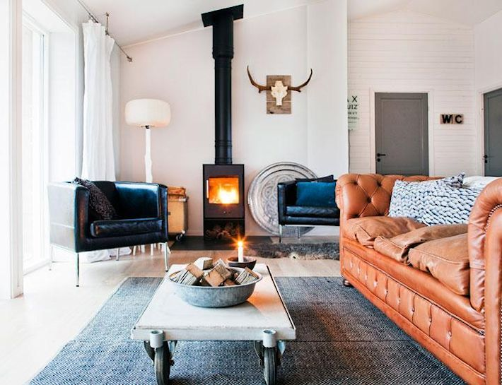 Deco nórdica rústica en una casa sueca