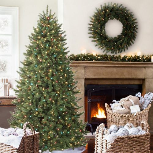 Vermont White Spruce Narrow Premium Prelit Artificial Christmas Tree - Beautiful realistic looking tree