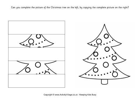 Complete the Christmas tree puzzle