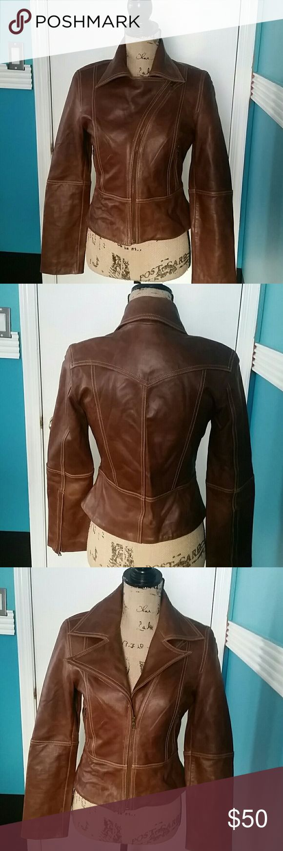 Ladies Brown Leather Jacket Size Small Brown Leather Jacket Guess Jackets & Coats