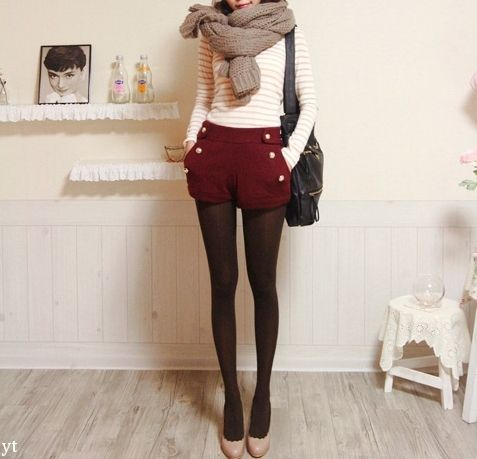 red shorts & tights: Outfits, Fashion, Style, Clothes, Shorts, Tights, Fall Outfit, Scarf, Fall Winter