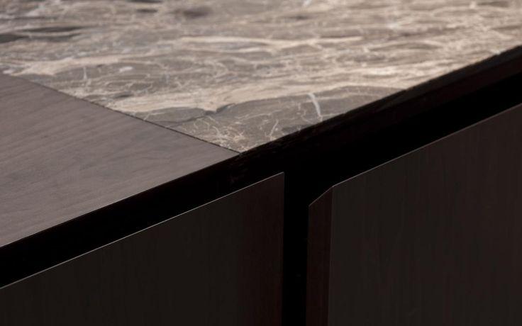 Detail of the work top of the Minotti Inca kitchen by Silvano Bonetti and Alberto Minotti.