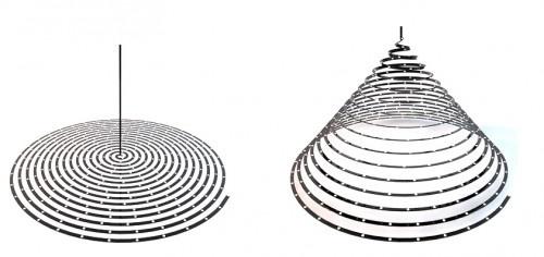 Cosmo è una lampada formata da un semplice taglio a laser di un elemento di alluminio. luna volta appesa al soffitto la lampada prende forma tridimensionale e crea un volume accattivante ed emozionale. Ogni foro viene riempito da una luce LED, come stelle nel cielo la lampada illumina il tutto come una notte stellata. Cosmo è  una lampada economica, funzionale e romantica che crea emozione e stupore a chi la osserva.